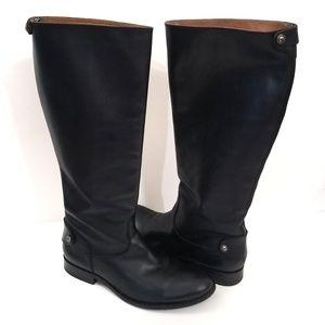 Frye Melissa Button Zip Back Tall Boot Wide Black